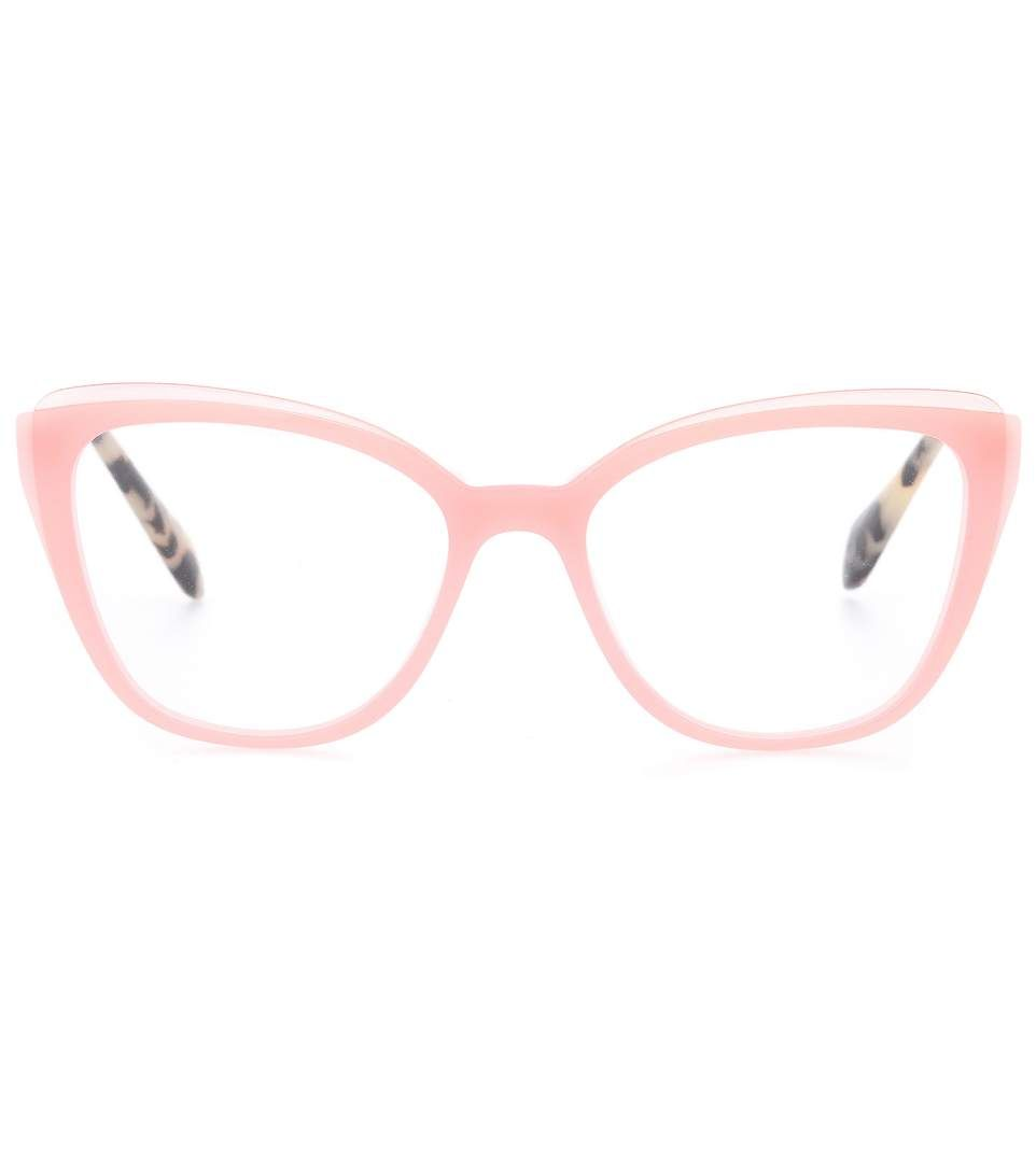 MIU MIU - Cat-eye glasses - Lighten up your everyday look with Miu Miu s  pink cat-eye glasses. The frame comes in a unique layered design, while the  golden ... 894ecd1194