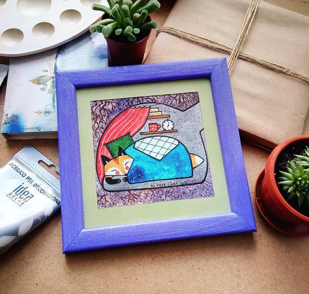 """На улице стало прохладно. Хочется зарыться под одеяло и смотреть сны. """"Спящий лисенок """", акварель -темпера,  рамочка из дерева. Размер 18х18. 🎨Art By Vera Gnat - уютные картины на заказ, по всем вопросам пишите в лс.  #artbyveragnat #fox #aquarelle #comfort #art #painting #myartwork #kharkiv #drawing #decor #customshop #sleeping #artfox #washdrawing #watercolor #instaart #artist #sweethome #mimimi #акварель #творчество #картинаназаказ #лиса #рисунок #мояработа"""