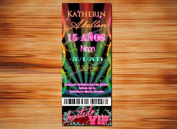 Tarjetas De Invitaciones De 15 Años En Neon 3 Fiestas