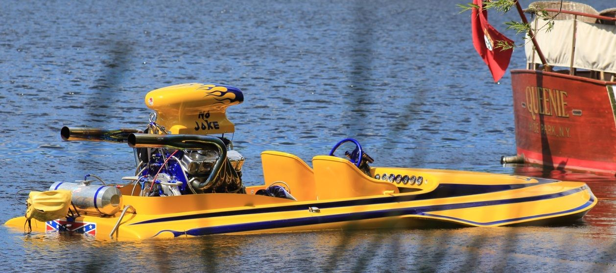 "A wild looking (and running) 1969 Sanger California drag boat ""NO JOKE"" sporting a 600 HP big block Chevrolet."