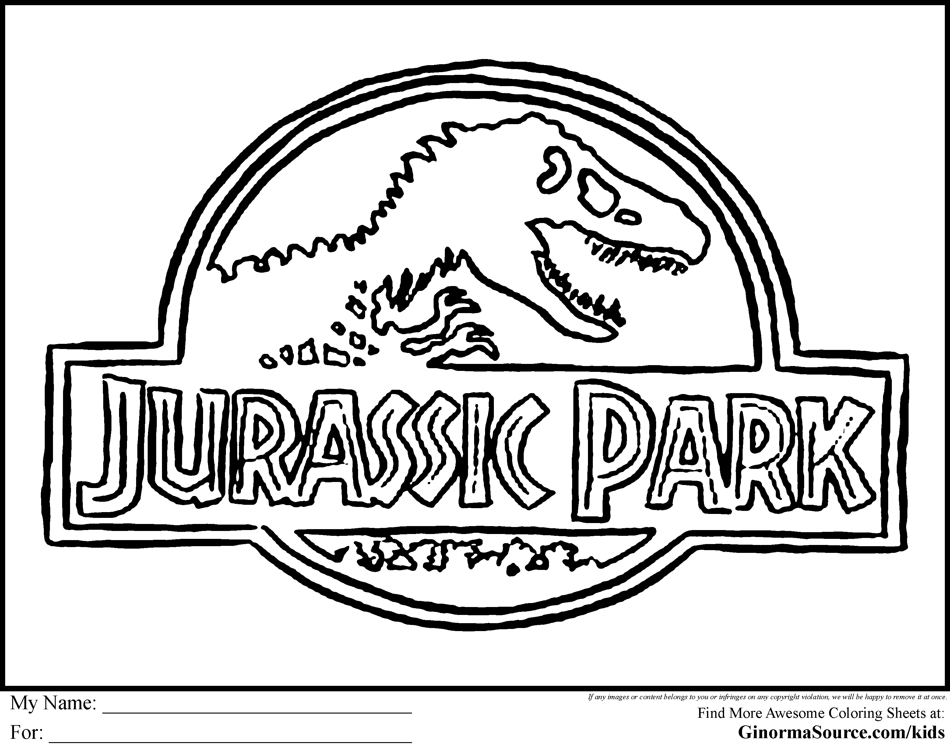 Jurassic Park Colouring Pages Google Search Dinosaur Coloring Pages Jurassic Park Jurassic Park Logo