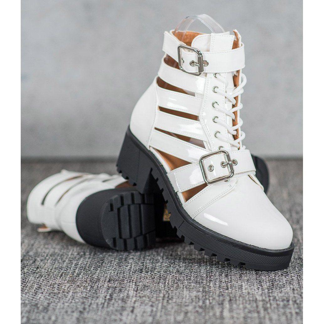 Seastar Lakierowane Botki Fashion Biale High Top Sneakers Shoes High Tops