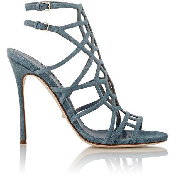 Sergio Rossi Women's Suede Puzzle Caged Sandals ($369) ❤ liked on Polyvore featuring shoes, sandals, heels, colorless, blue sandals, blue suede sandals, heeled sandals, high heel shoes and ankle strap heel sandals