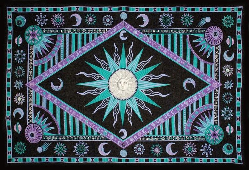 Celestial Print Tapestry Wall Hang or Spread 102 x 70 Green Twin