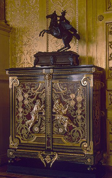 Made in Paris, France. Medal Cabinet. Second half of the 18th century. Pine, walnut, ebony, tortoiseshell, copper, bronze; Boulle technique, chased and carved.  State Hermitage Museum. St. Petersburg, Russia.