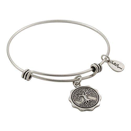 Bella Ryann Adjustable Expandable Silvertone Wire Bangle Bracelet With Pendant Initial Charm S
