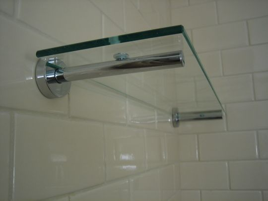 How to mount hardware in tile wall shelving shelving - Bathroom glass corner shelves shower ...