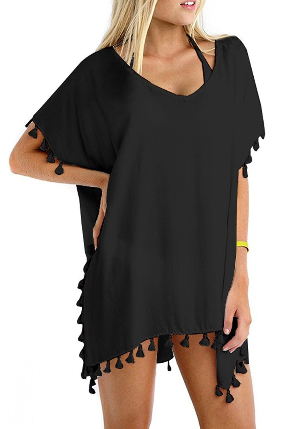 c947ed2220 Women's Clothing, Swimsuits & Cover Ups, Cover-Ups, Women Chiffon Tassel