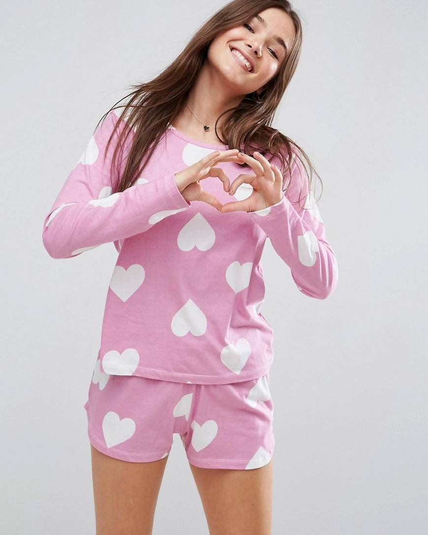 Cute pj set for Valentine s day  pajamas  lifestyle  women  lingerie   valentine  heart  pj  asos 329c3be59