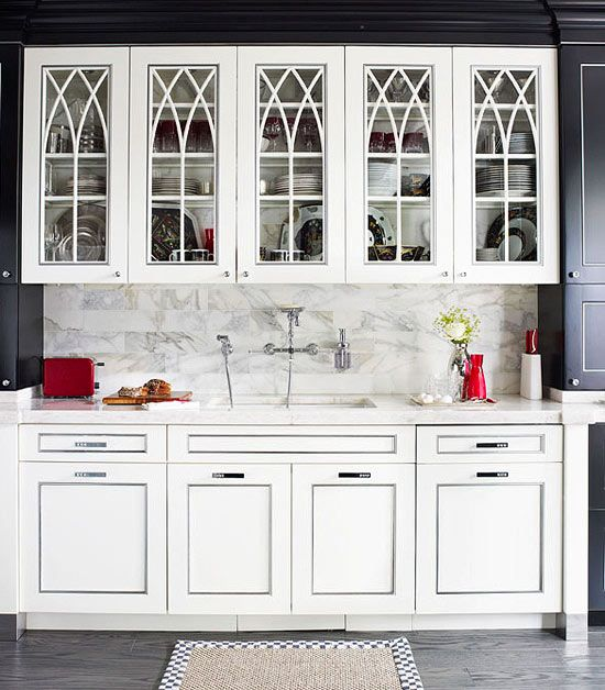 Best Sheen Of Paint For Kitchen Cabinets: Distinctive Kitchen Cabinets With Glass-Front Doors