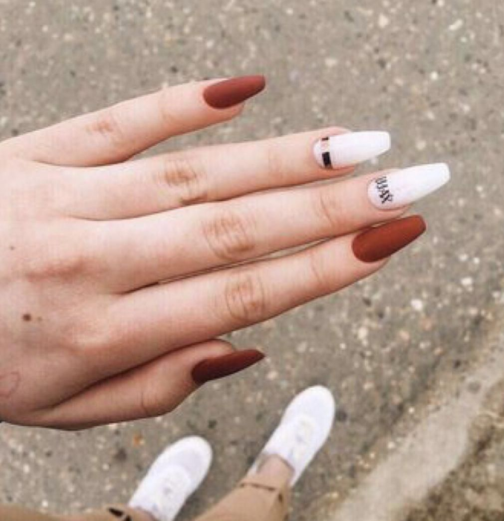 Beauty in 2020 | White nails, Autumn nails, Red nails