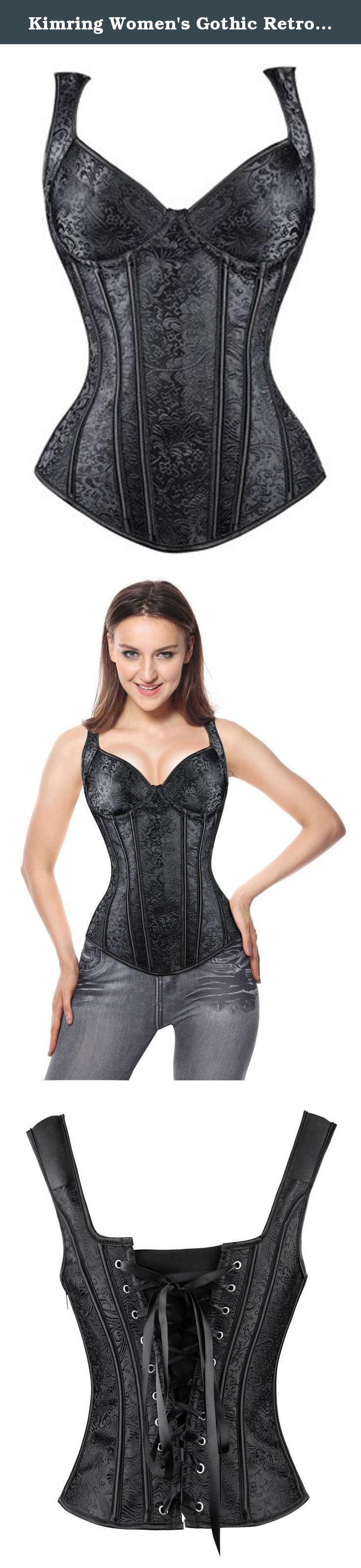 Kimring Women's Gothic Retro Jacquard Peasant Shoulder Straps Boby Shaper Tank Bustiers Overbust Corset with Lightly Cup Black Large. ATTENTION: Some Colors are Attached Plastic Bones, While the Others are Attached Spiral Steel Bones Because of Upgrade, the Sizes of each Color are a Little Different at the Same Time, Please Check in the Size Chart Details on Each Color's Left of the Pictures Vintage black jacquard overbust corset, with cotton lightly padded underwire cups, wide shoulder...