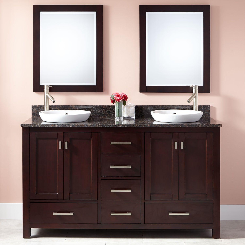 60 Modero Double Vanity for Semi Recessed Sinks