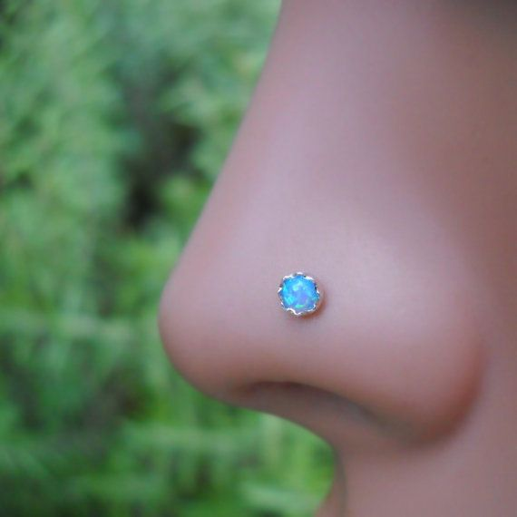 0.6mm Gemstone Ball Stay Nose Stud Green Opal Claw Set Sterling Silver 22g