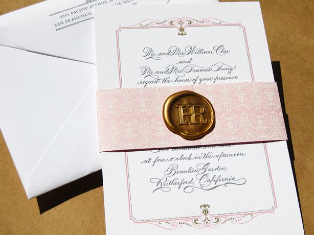 little-miss-press-pink-gray-calligraphy-wax-seal-wedding-invitation ...