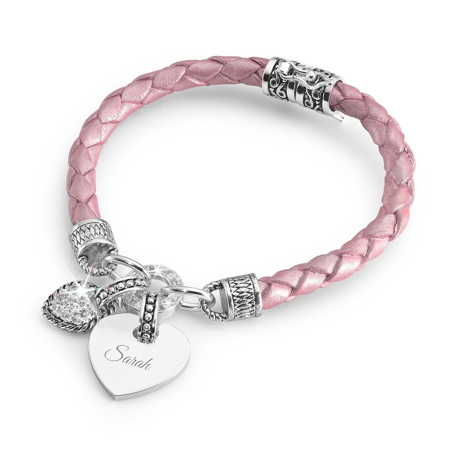 Girls Pink Leather Bracelet | Pink leather, Leather bracelets and ...