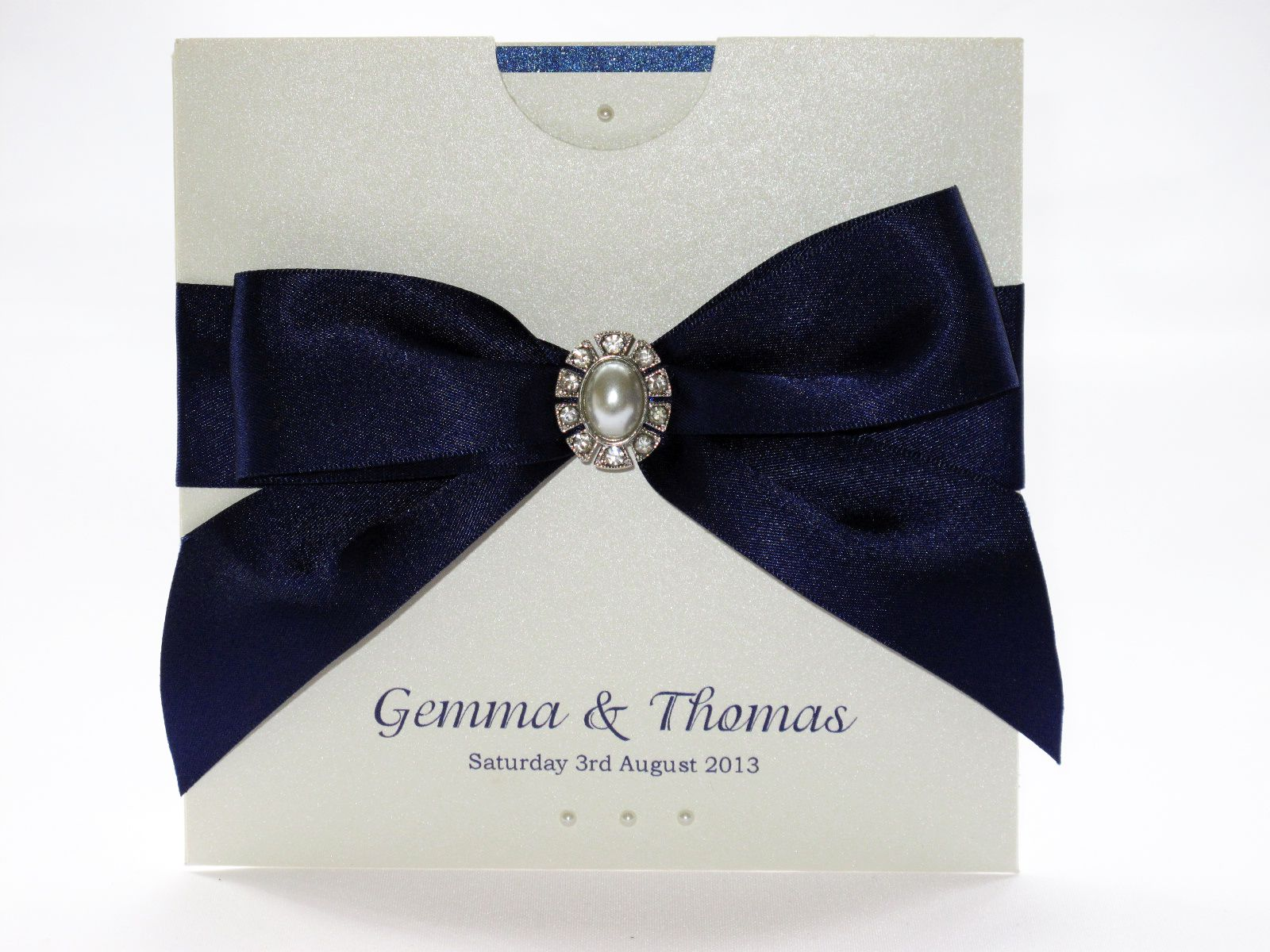 tie ribbon wedding invitation%0A Navy blue bow and pearl wallet wedding invitation by Sweetheart Stationery