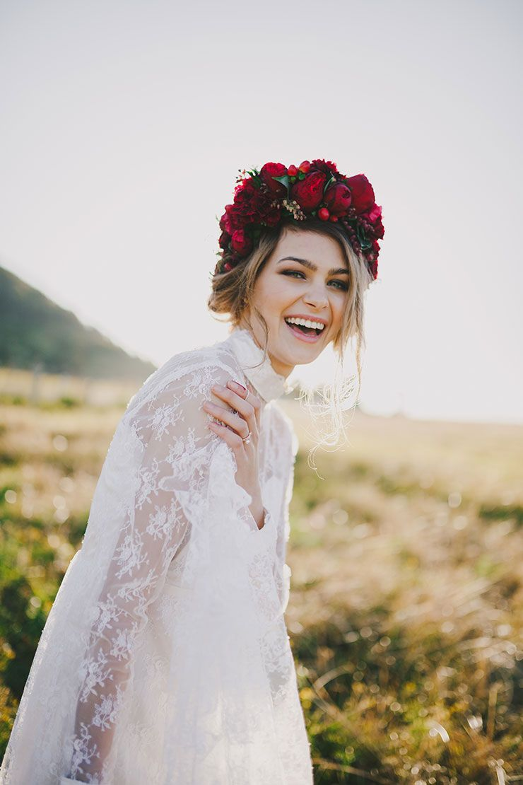 Romantic red floral wedding inspiration floral wedding vintage bohemian bride wearing vintage lace wedding dress with natural makeup and red flower crown izmirmasajfo Images