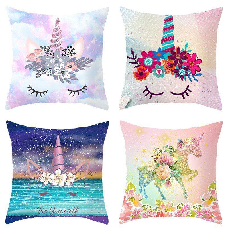 Hologram Galaxy Unicorn Pillow Cover  Hologram Galaxy Unicorn Pillow Cover