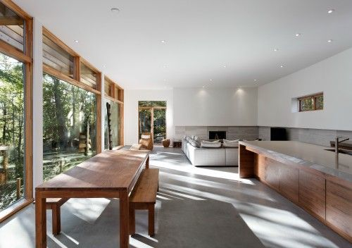 minimalist living-dining-kitchen interior concrete house
