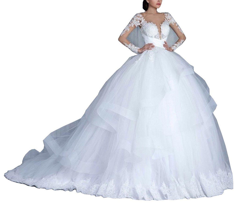 Tsbridal ball gown wedding dresses vneck long sleeves lace wedding