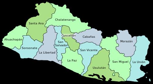 Mapa Dzialow Salwadoru Wraz Z Imionami San Salvador Salvador El Salvador