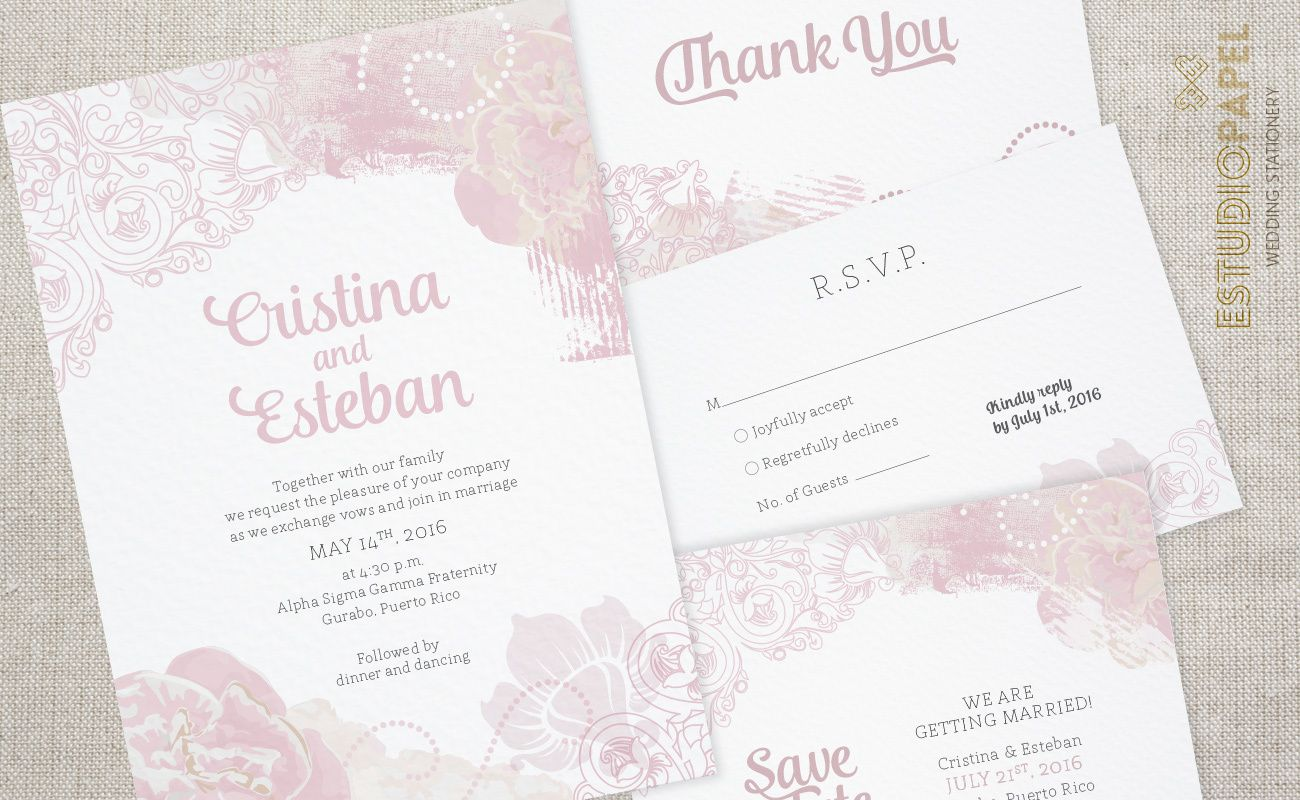 vintage wedding invitation text%0A Floral Wedding Stationery  Vintage Antique Rose Wedding Invitation by  EstudioPapel