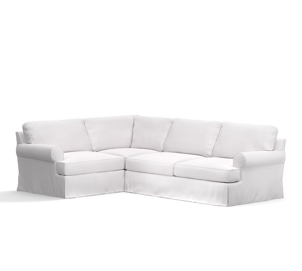 townsend roll arm slipcovered 3 piece corner sectional products rh pinterest com