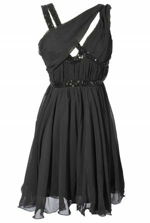 asymmetrical chiffon and sequin party dress in black