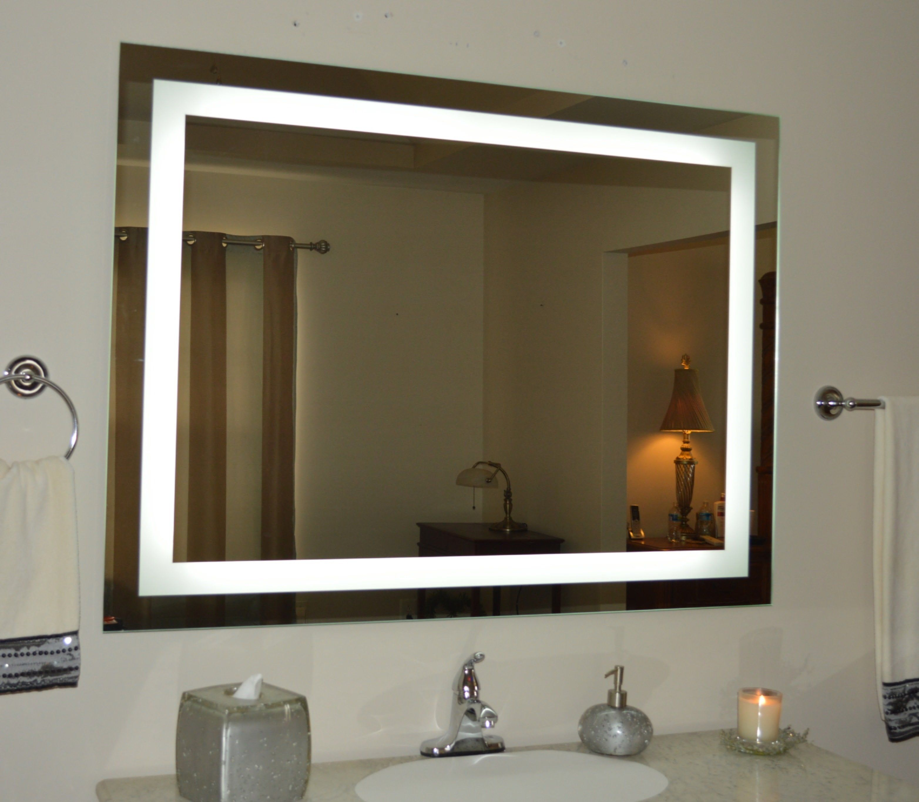 Front Lighted Led Bathroom Vanity Mirror 48 X 32 Rectangular