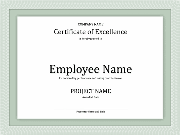 Certificate Of Excellence For Employee    Certificate