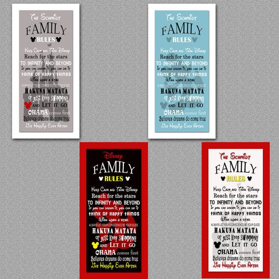 Disney Family Rules print 10x20 by malibelle on Etsy