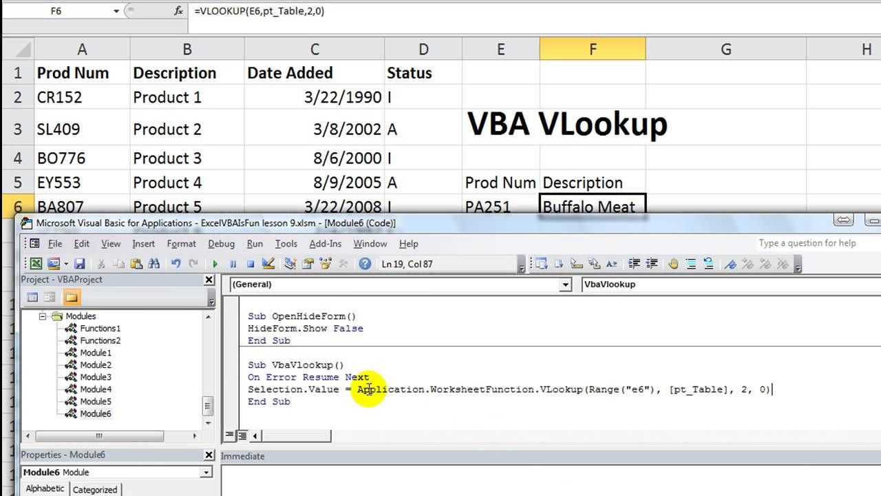 Excel VBA Basics 19 Using VLOOKUP in VBA Alternate
