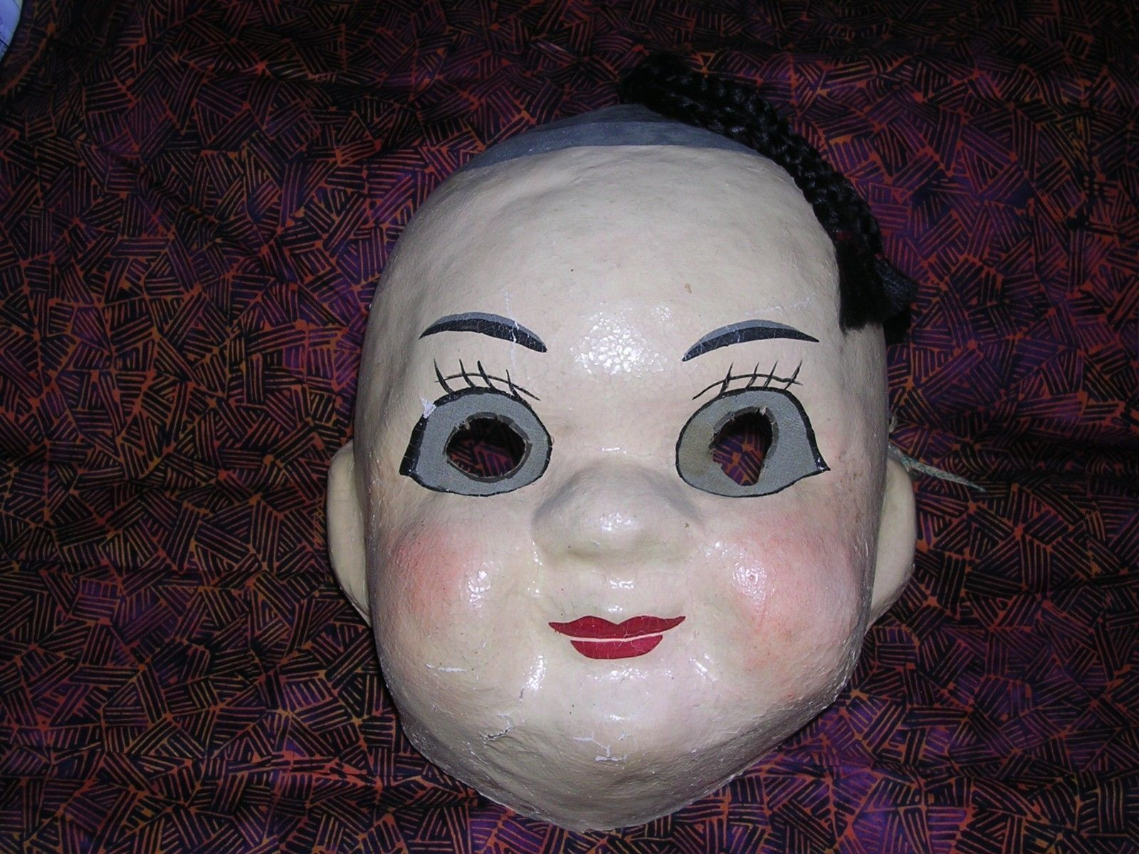 Vintage Old Antique Halloween Mask Paper Mache Chinese Boy Doll ...
