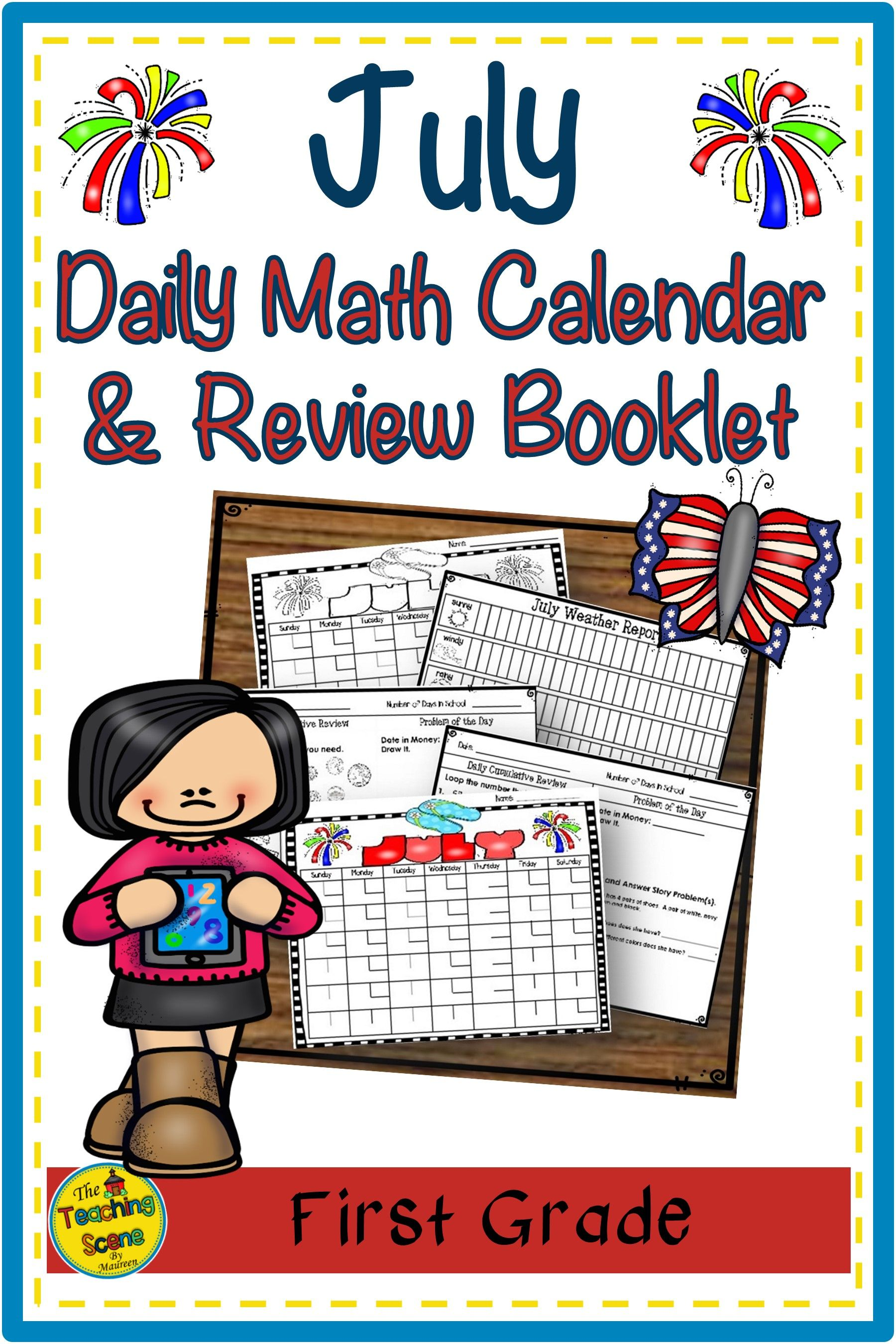July First Grade Daily Math Calendar Amp Review Booklet In