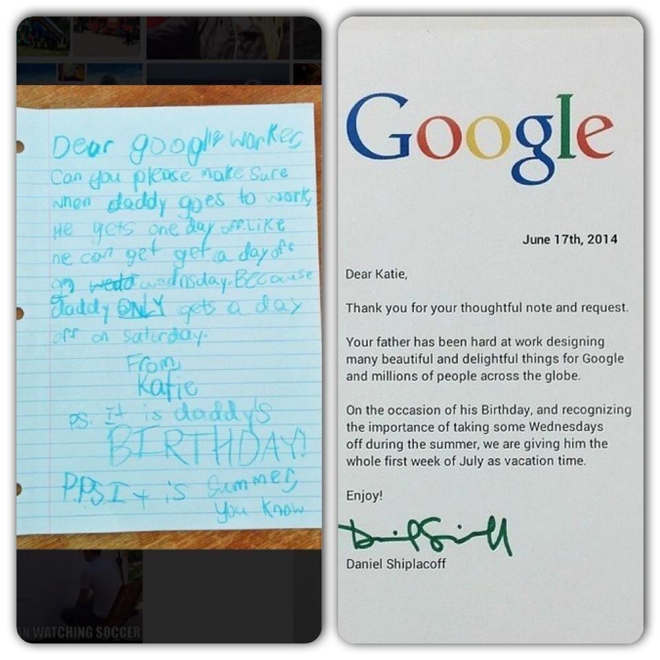 Google Employeeu0027s Daughter Writes Letter to Boss
