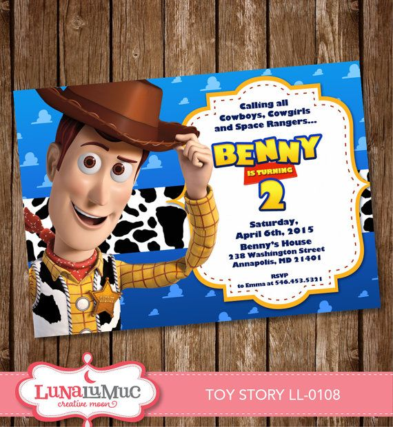Toy Story Invitation Card Party Invite Birthday Card Toy Story Woody Ll 0108 Toy Story Invitations Invitation Card Party Woody Toy Story