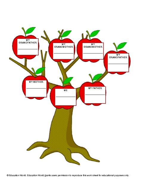 Education World Three Generation Family Tree Template Education