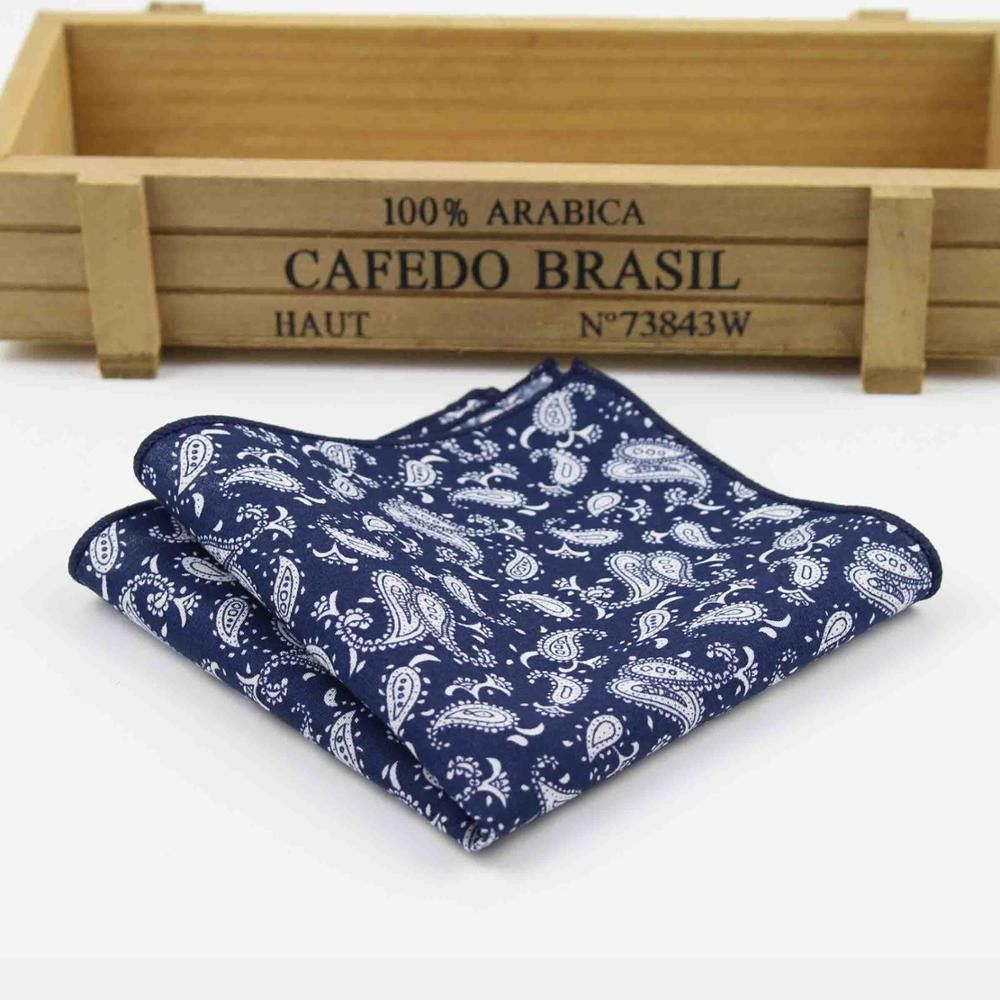 Men's Pocket Square Handkerchiefs Flower Paisley