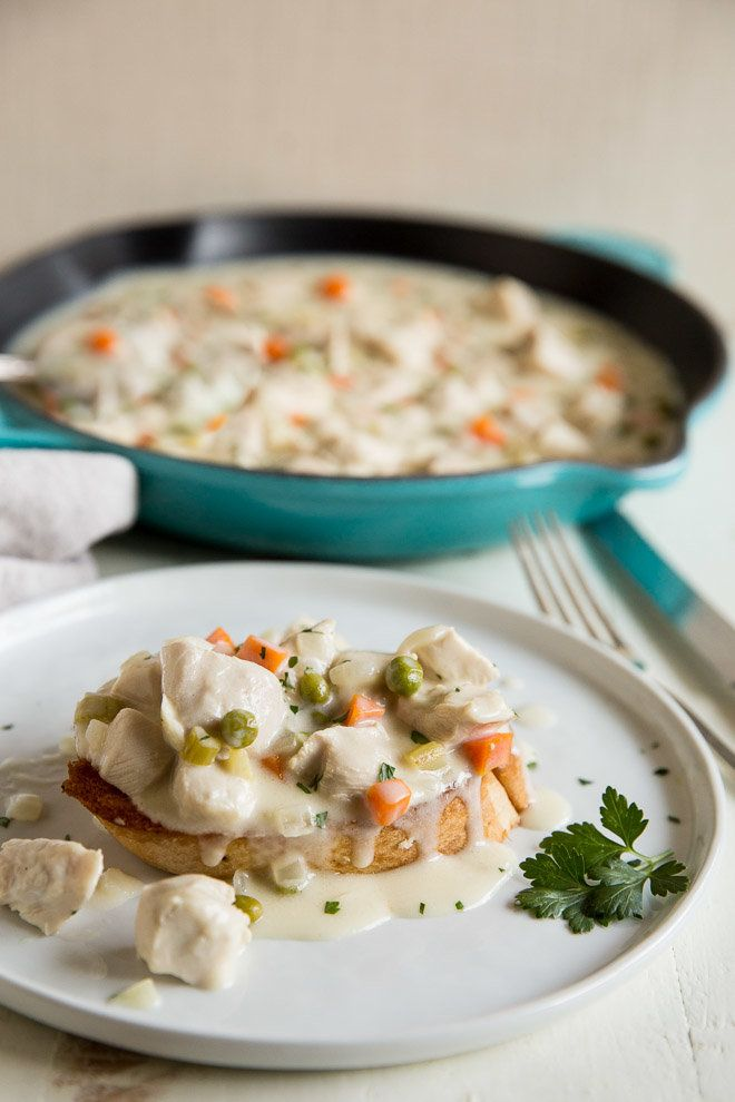 Tender chunks of chicken and simple vegetables in a creamy gravy over toast or biscuits. Chicken a la King is easy comfort food at its finest!