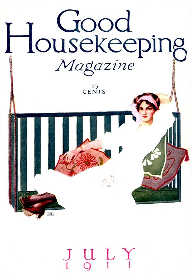 Good Housekeeping 1911-07 Woman sitting, stretched out on a porch swing.   Artist: Schweinler Source: ebay seller powerangers Restoration by: magscanner  Date: 09/25/2010 Owner: Magazine Art Gallery Administrator Full size: 650x940