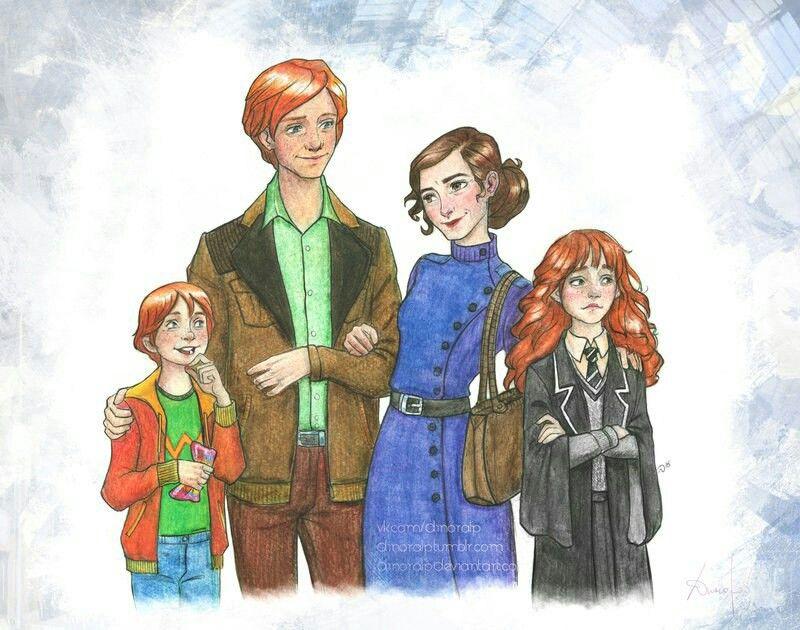 The granger weasleys harry potter pinterest - Ron weasley and hermione granger kids ...