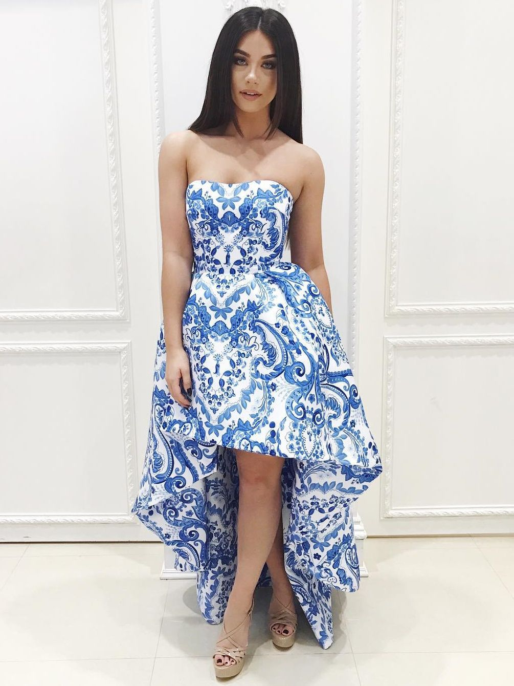 7f947590bf9 Strapless High Low Blue and White Floral Homecoming Dress