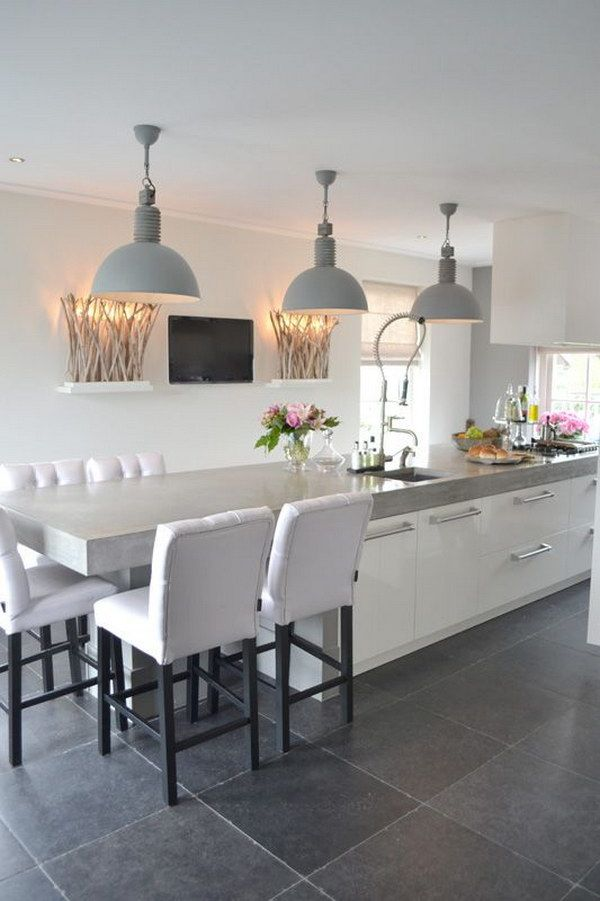 Contemporary Kitchen With Soft Grey Metal Shaded