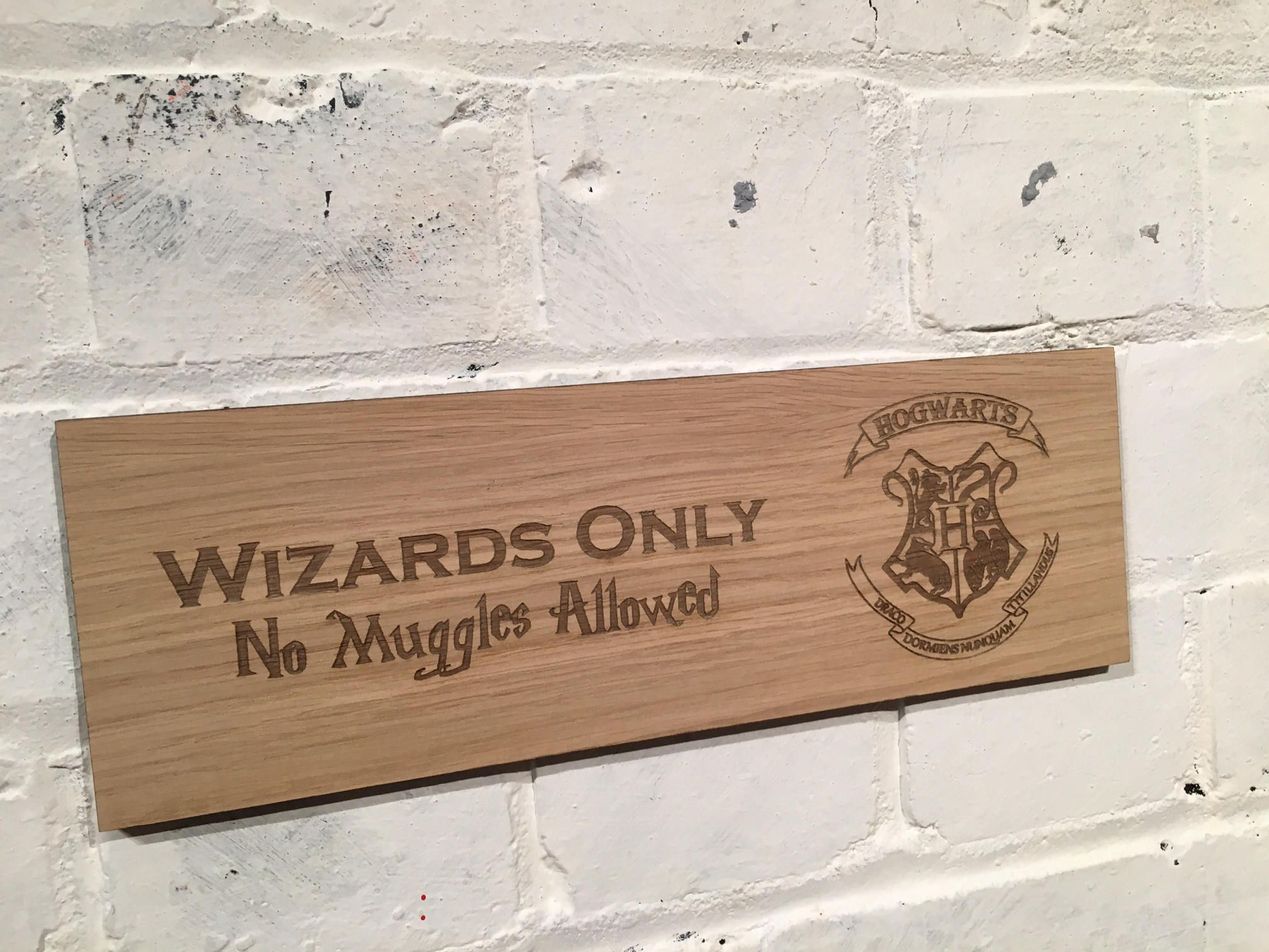 Harry Potter Hogwarts Shabby Chic Wood Sign Wizards Only