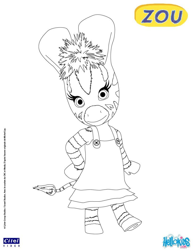 Zebra Elzee Coloring Page. More Zou Coloring Sheets On Hellokids.com