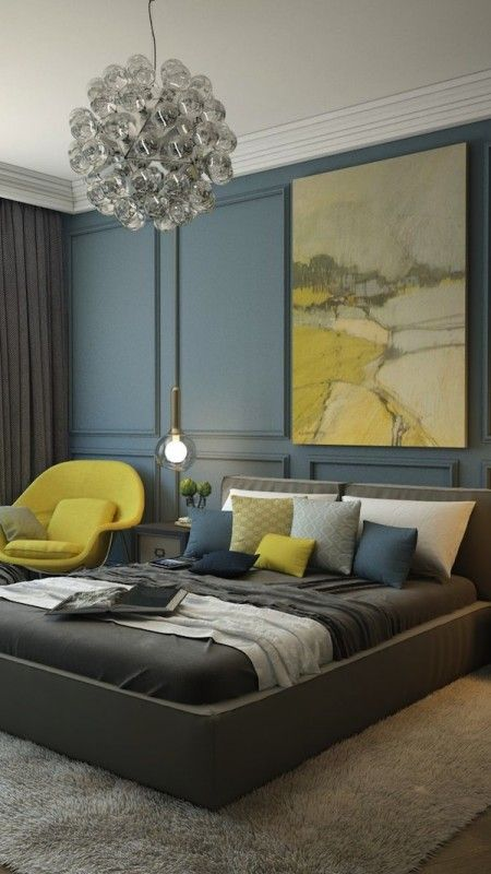 Charcoal Muted Dark Blue And Bold Yellow Bedroom Interior