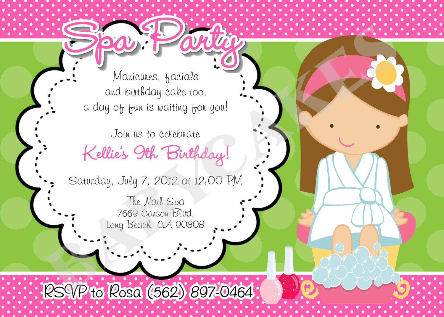 Birthday invitations exciting spa party invitation design idea with birthday invitations exciting spa party invitation design idea with beautiful girl green white background and pink filmwisefo Gallery