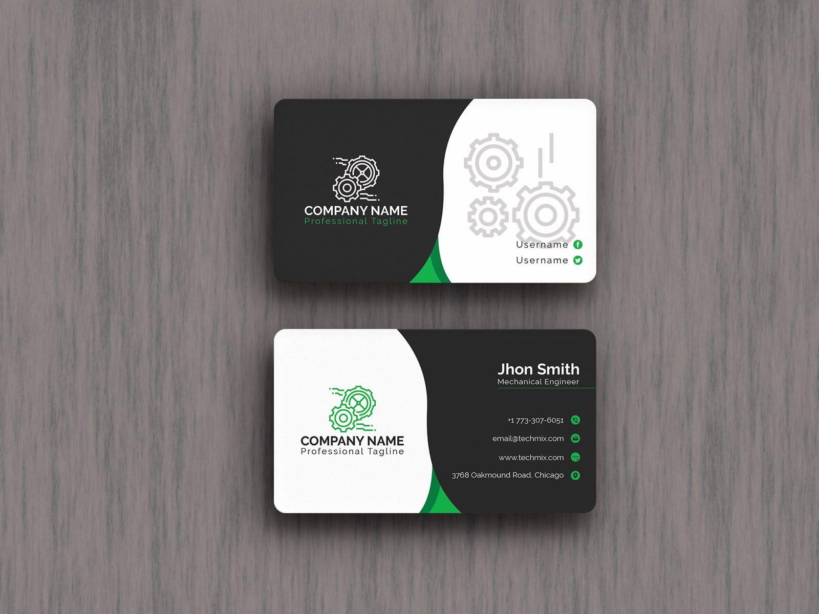 Black White Mechanical Engineer Business Card Business Card Design Creative Business Cards Creative Business Card Design