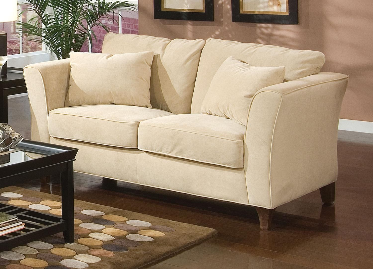 the park place cream loveseat has a retro contemporary style with rh pinterest it